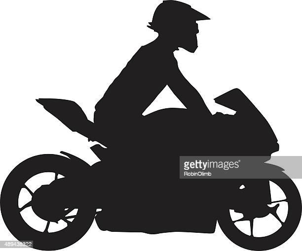 motorcycle silhouette - motocross stock illustrations, clip art, cartoons, & icons