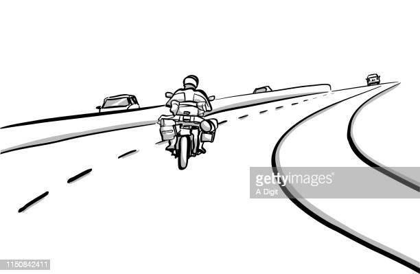 motorcycle trip - pen and ink stock illustrations