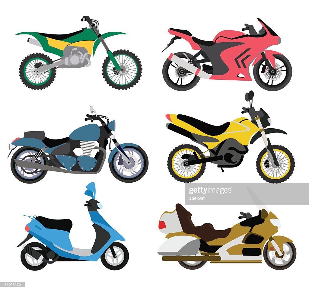 Motorcycle types multicolor motorbike ride speed sport transport vector illustration