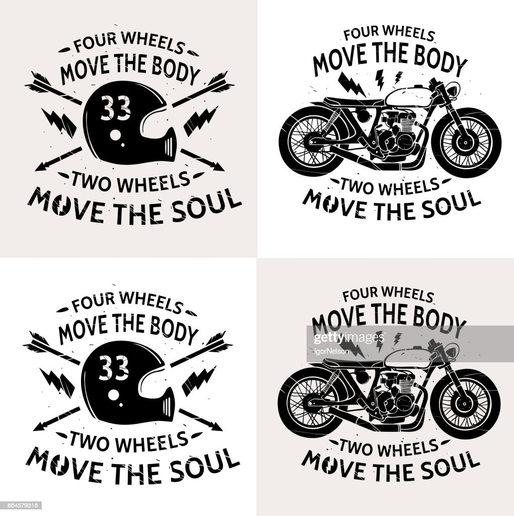 Motorcycle with text Four wheels move the body. Two wheels move the soul. Motobike . Motorbike and  helmet. Vintage