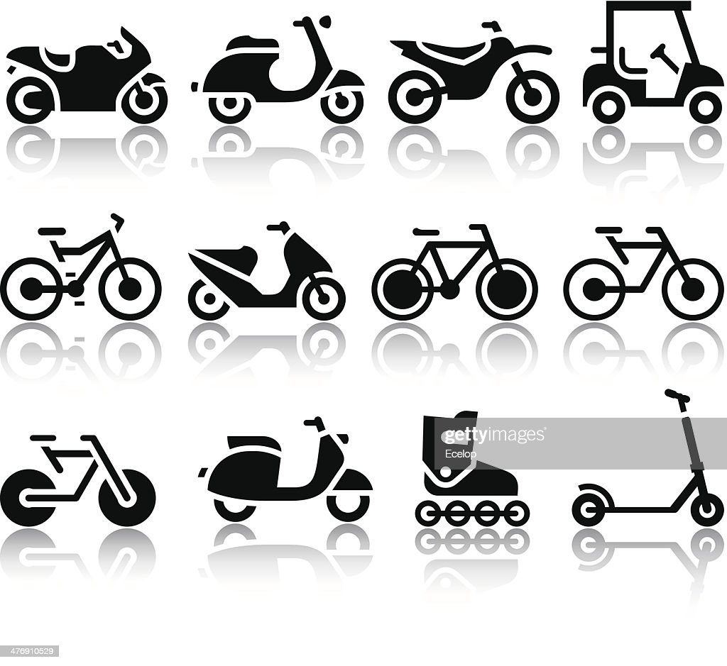 Motorcycles and bicycles set of black icons