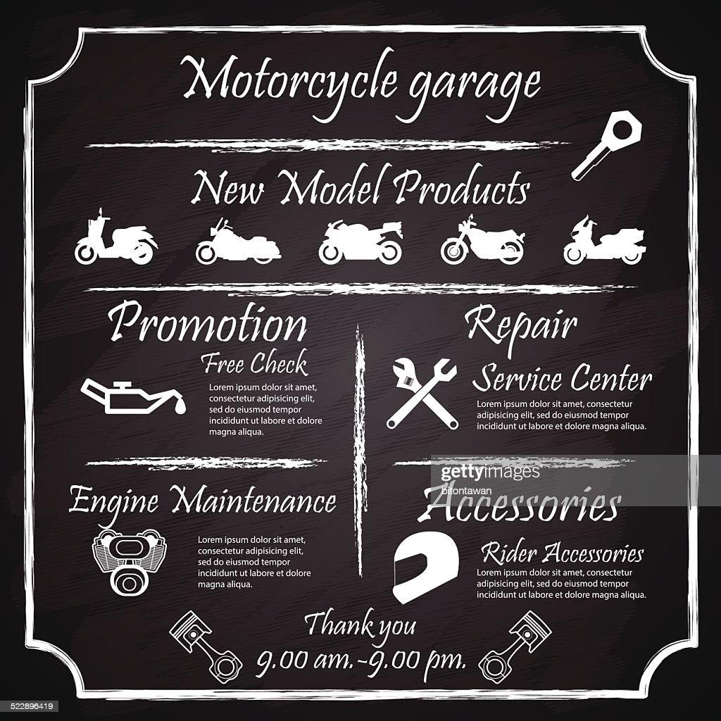 Motorcycles Garage Signs,Posters, blackboard