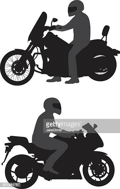 motorcyclists silhouettes - motorcycle rider stock illustrations, clip art, cartoons, & icons