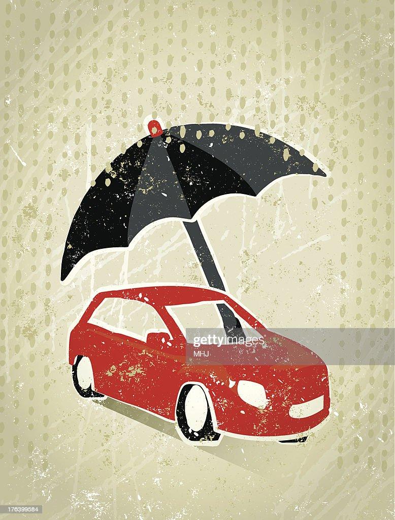 Motoring Insurance Giant Umbrella Protecting A Car From Rain Stock