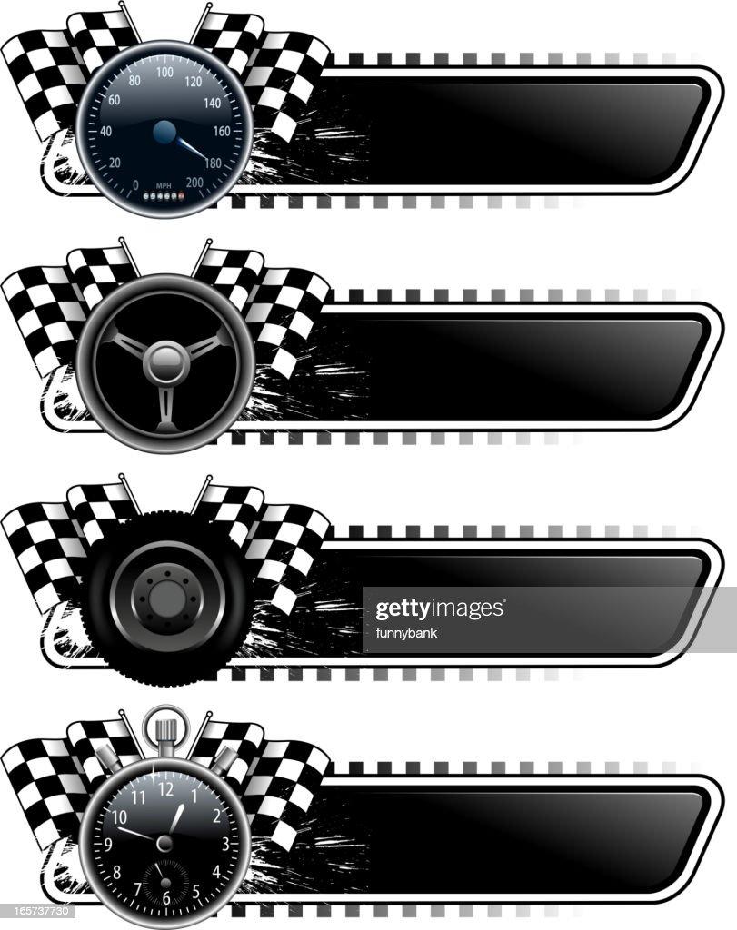 motorized sport banners : stock illustration