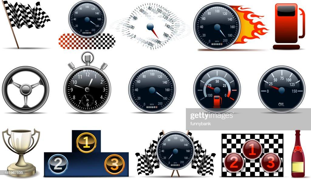 motorized sport symbols : stock illustration
