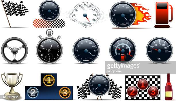 motorized sport symbols - go carting stock illustrations, clip art, cartoons, & icons