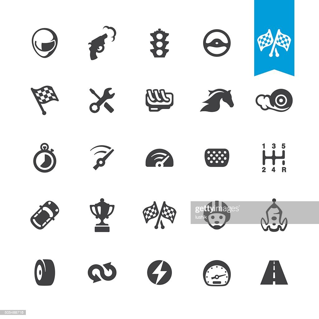 Motorsport and Auto Racing vector icons