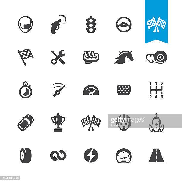 motorsport and auto racing vector icons - rally car racing stock illustrations, clip art, cartoons, & icons