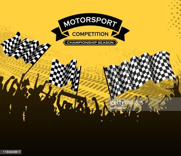 stockillustraties, clipart, cartoons en iconen met motorsport leuk - finale wedstrijd
