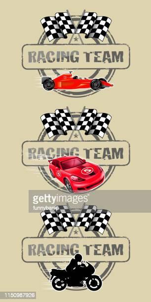 motorsport labels - go carting stock illustrations, clip art, cartoons, & icons