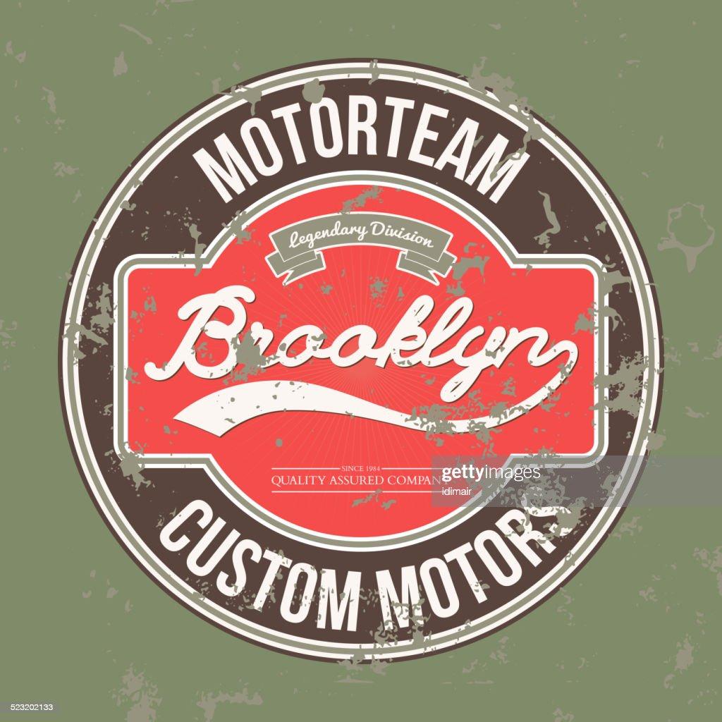 Motorteam Brooklyn. T-shirt graphic. Vector
