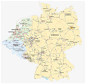 Motorway vector map of Germany and the Benelux states