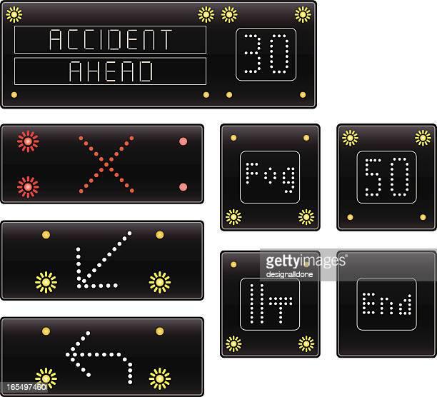motorway warning signs - blink stock illustrations, clip art, cartoons, & icons
