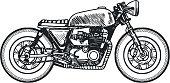 Motrocycle Bike Cafe Racer on White Background. Vector