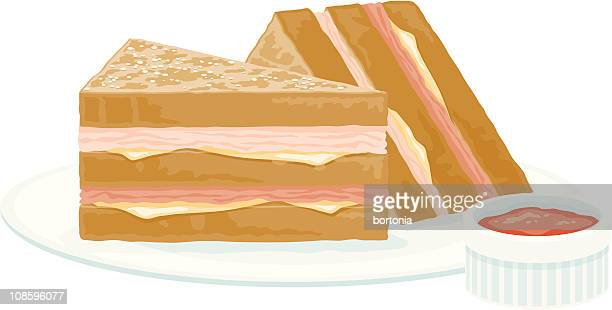 monte cristo sandwich - toasted sandwich stock illustrations, clip art, cartoons, & icons