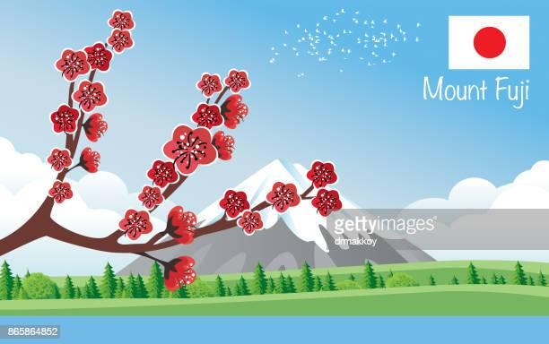 ilustraciones, imágenes clip art, dibujos animados e iconos de stock de monte fuji - mt. fuji