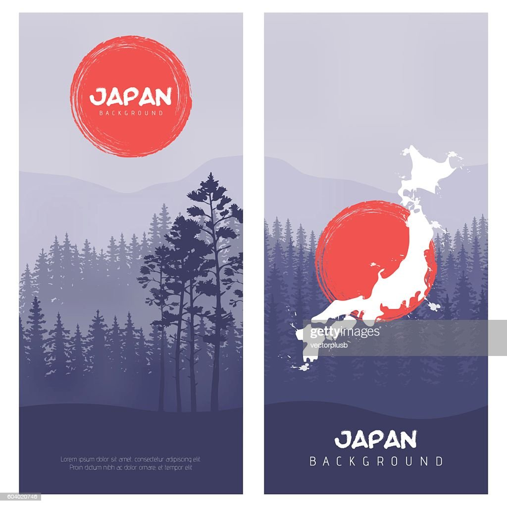 Mountain and forest landscape. Illustration of Japan Flag Vector Background.