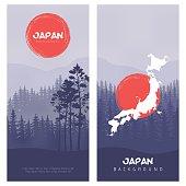 Mountain and forest landscape. Illustration of Japan Flag Vector Background.