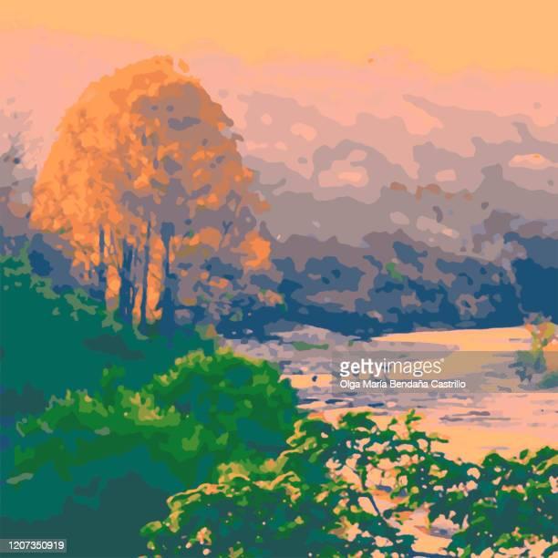 ilustraciones, imágenes clip art, dibujos animados e iconos de stock de paisaje de montaña y río - biodiversidad