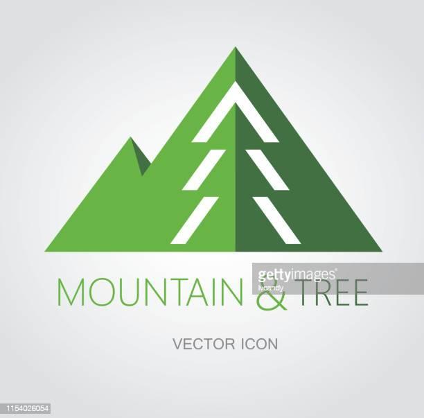 mountain and tree symbol - mountain logo stock illustrations