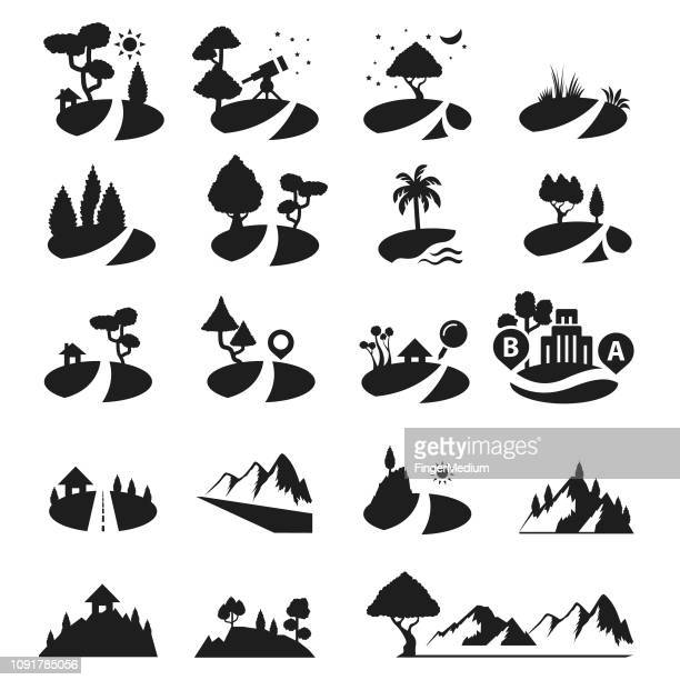 mountain and trees icons - valley stock illustrations