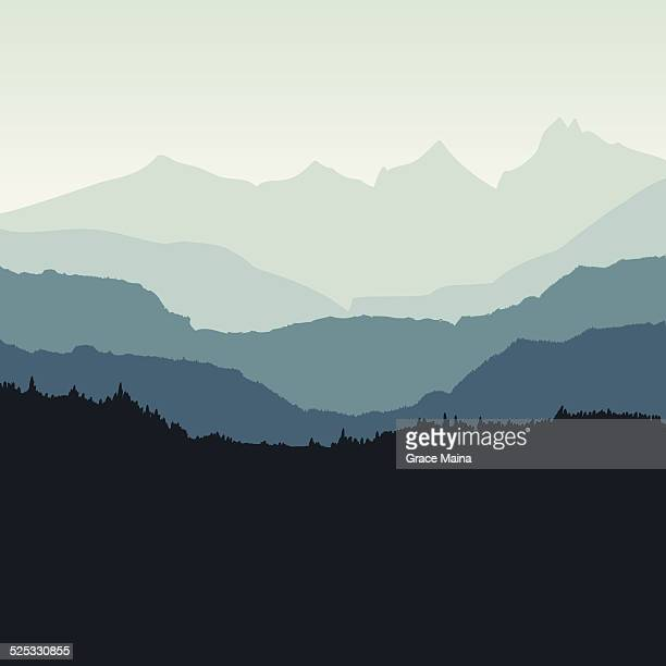 mountain backdrop - vector - digital composite stock illustrations