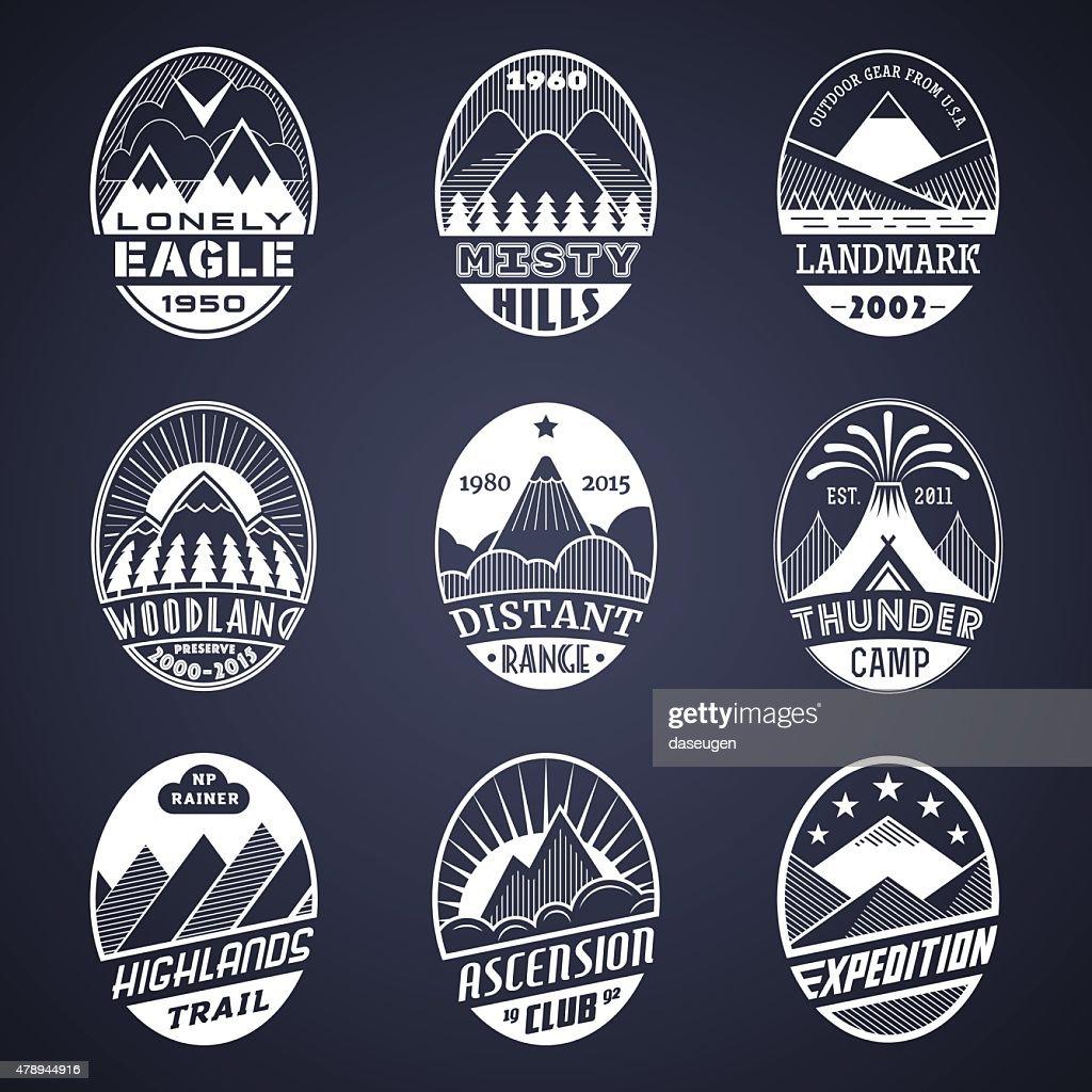 Mountain badge set2 white