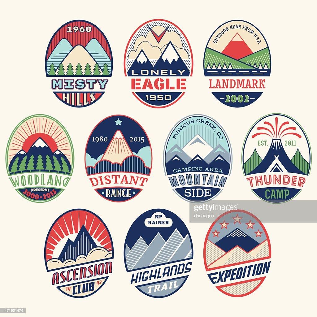 Mountain badge set2color