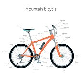 Mountain bicycle. Mountain bike infographics.