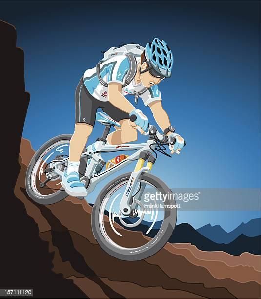 ilustrações de stock, clip art, desenhos animados e ícones de bicicleta de montanha de acção - mountain bike