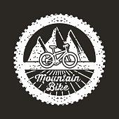mountain bike banner vintage retro poster black background