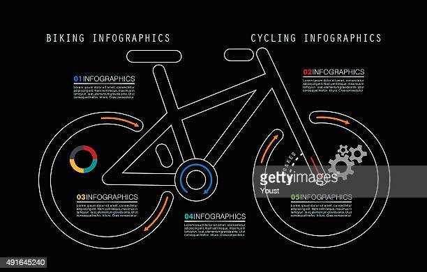 Mountain Bike Infografiken in Umriss-Stil