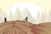 Mountain bike on hill