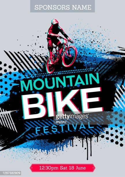 ilustrações, clipart, desenhos animados e ícones de pôster de mountain bike - mountain bike bicicleta