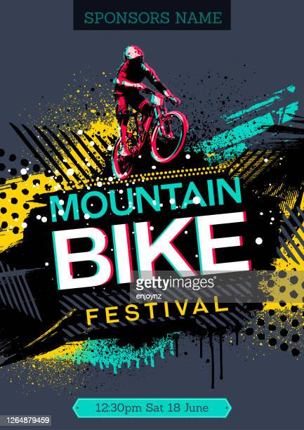 stockillustraties, clipart, cartoons en iconen met mountainbikeposter - sporting term