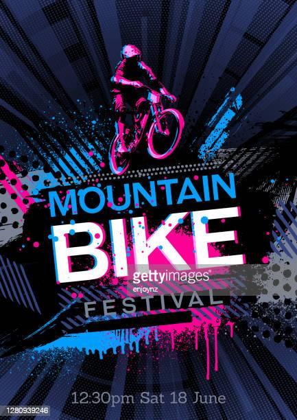 illustrations, cliparts, dessins animés et icônes de affiche de vélo de montagne - événement sportif