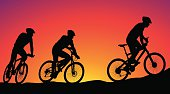 mountain bike race - silhouettes
