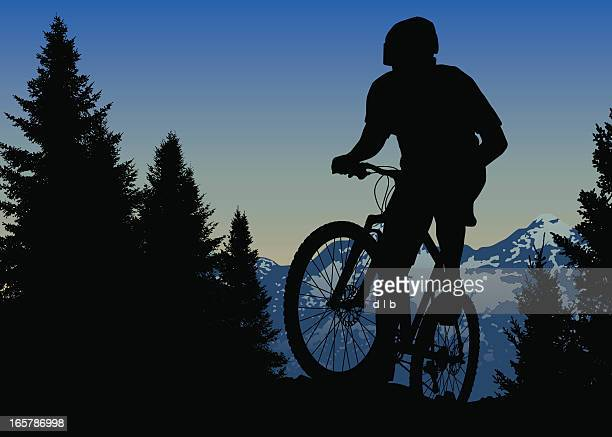 ilustraciones, imágenes clip art, dibujos animados e iconos de stock de mountain bike ride on top of the world - mountain bike