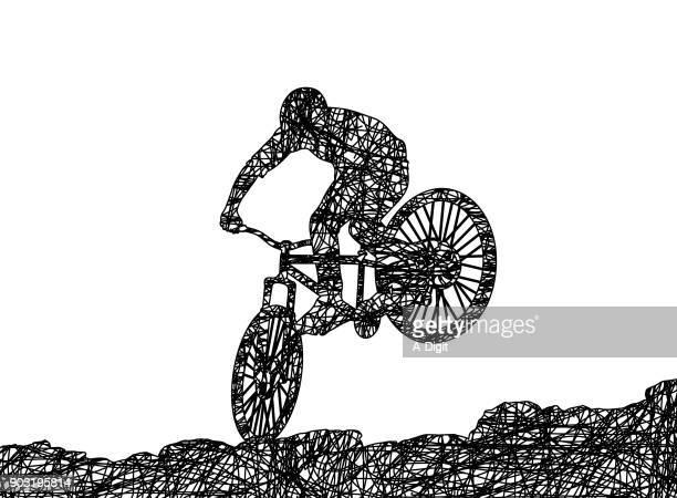 ilustrações, clipart, desenhos animados e ícones de mountain bike - esportes extremos