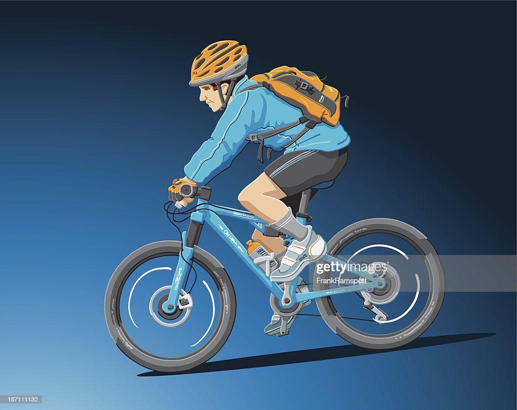 Mountainbiker-Blau : Stock-Illustration