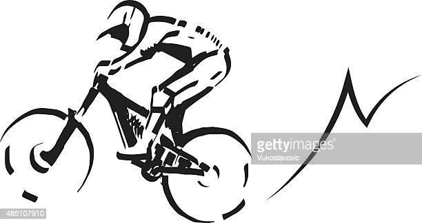 ilustraciones, imágenes clip art, dibujos animados e iconos de stock de ciclismo de montaña ilustración. - motocross