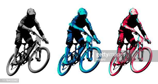 ilustrações de stock, clip art, desenhos animados e ícones de mountain biker - mountain bike