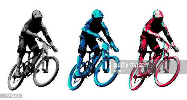 mountain biker - mountain bike stock illustrations