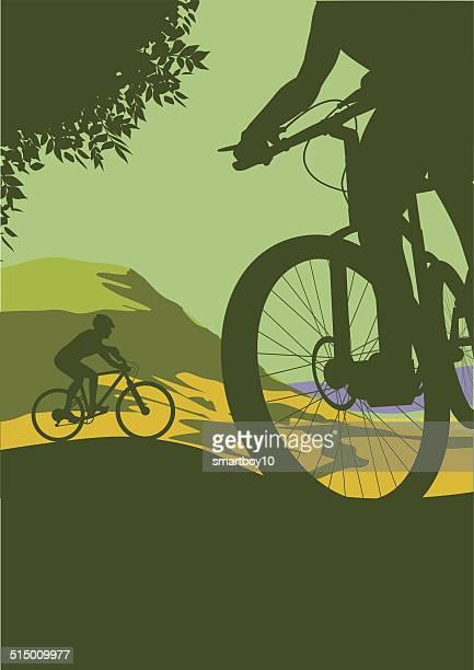 illustrations, cliparts, dessins animés et icônes de cyclistes en vtt - vtt