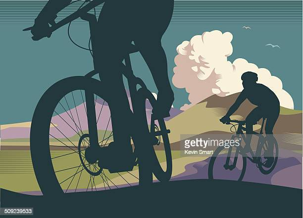 mountain bikes - bicycle stock illustrations