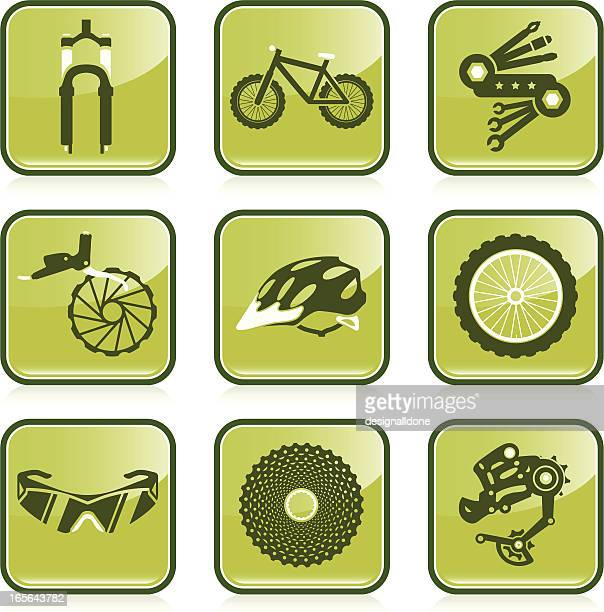mountain biking icon set - derailleur gear stock illustrations, clip art, cartoons, & icons
