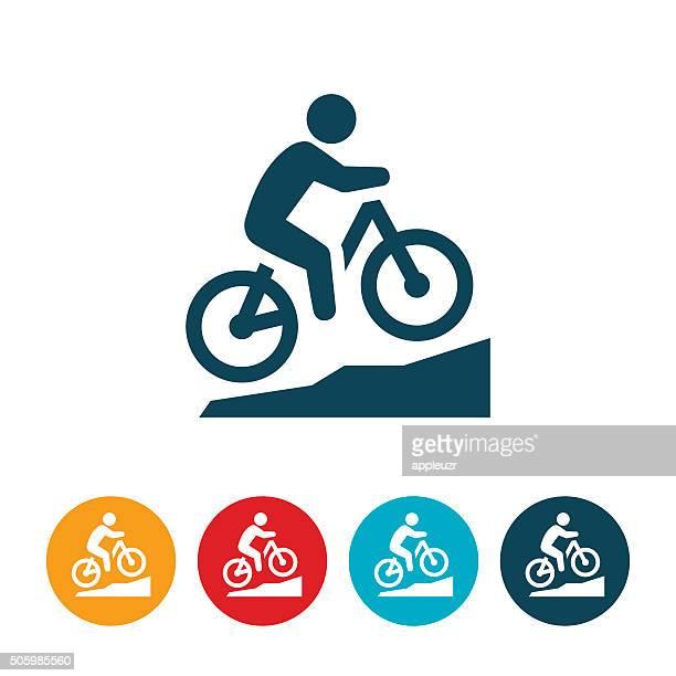 mountain biking icon - mountain bike stock illustrations