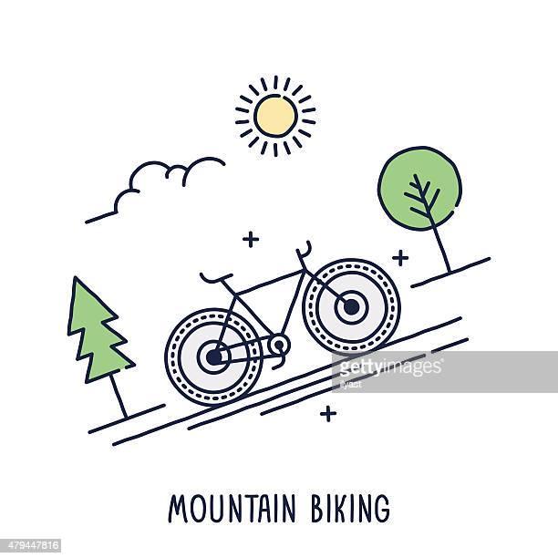 ilustrações de stock, clip art, desenhos animados e ícones de símbolo de bicicleta de montanha - mountain bike