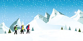 Mountain climbers with backpacks walking through heavy snow.
